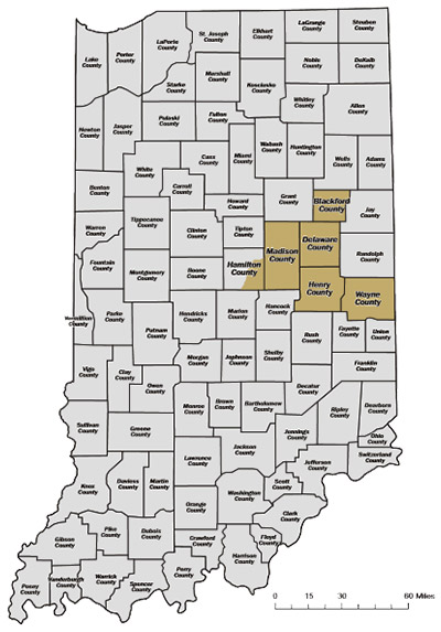 Terrance A. Smith Distributing, Inc., Territory map covering 2000 square miles in east central Indiana