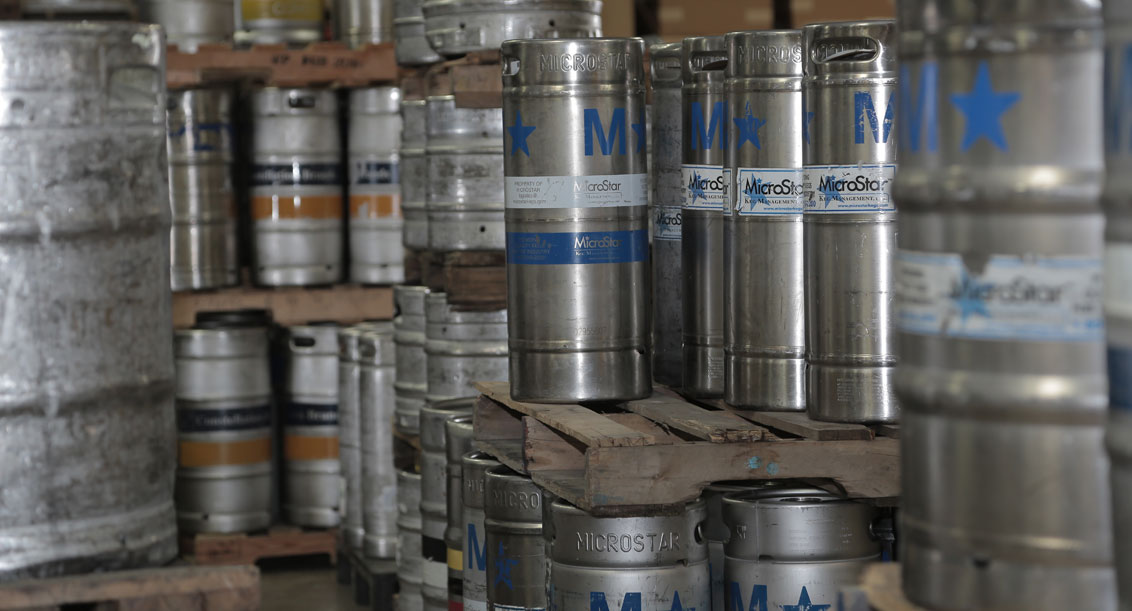 Beer kegs in warehouse at Terrance A Smith Distributing Anderson, Indiana