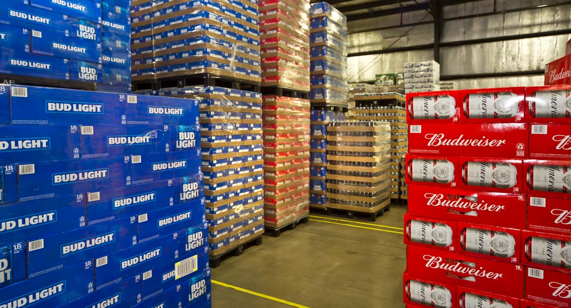 Budweiser cases in warehouse at Terrance A Smith Distributing Anderson Indiana