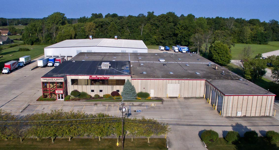 Aerial view of the Terrance A Smith Distributing facility in Anderson, Indiana